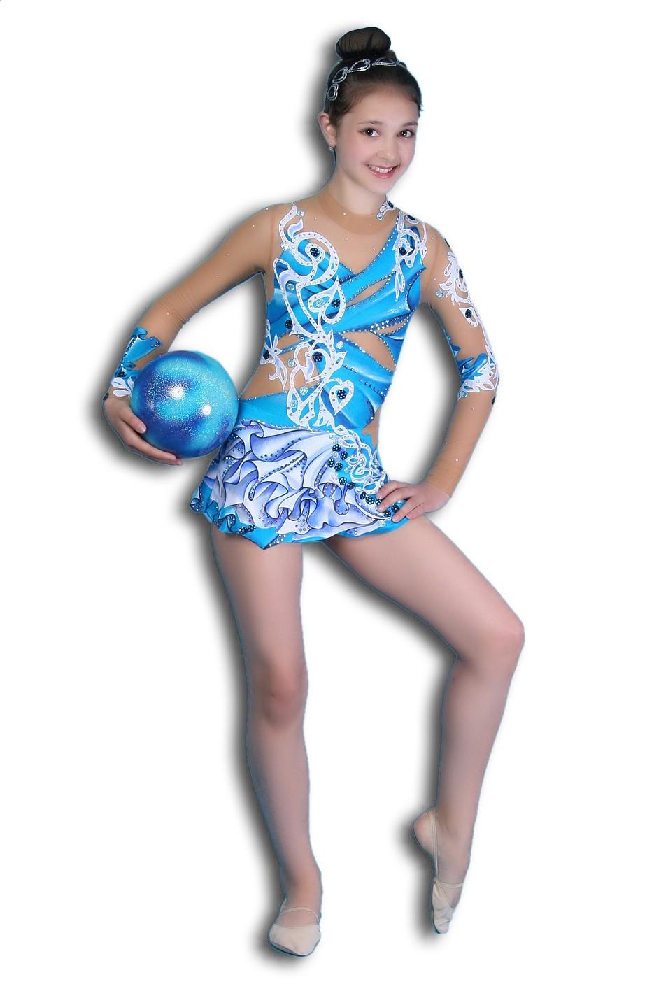 купальник голубой с белым рукав длинный
