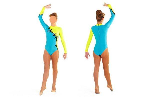 купальники для художественной гимнастики для выступлений: бифлекс синий с желтым