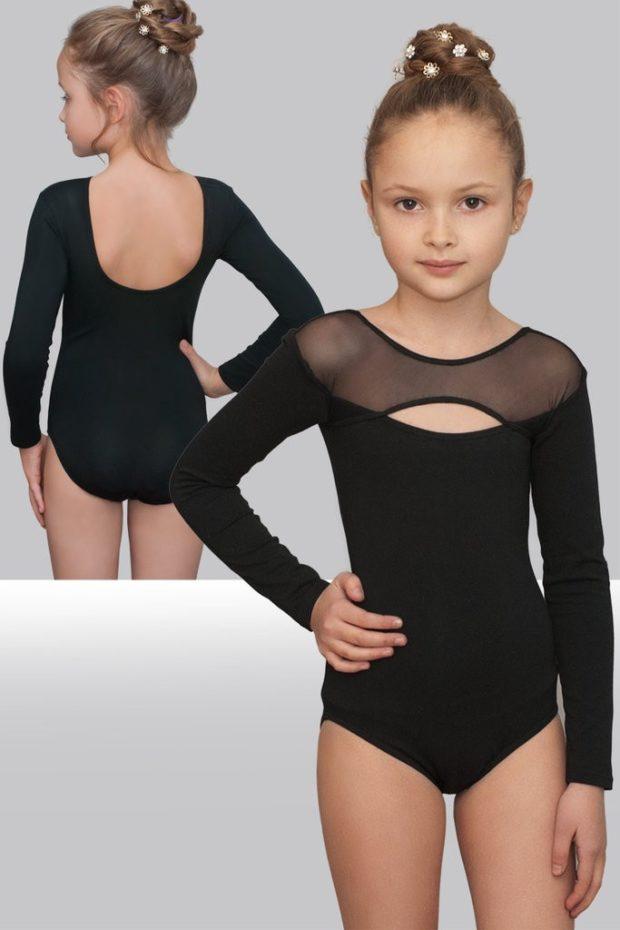 купальники для художественной гимнастики для выступлений: бифлекс черный с сеткой