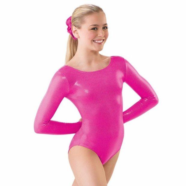 купальники для художественной гимнастики для выступлений: розовый лайкра рукав длинный