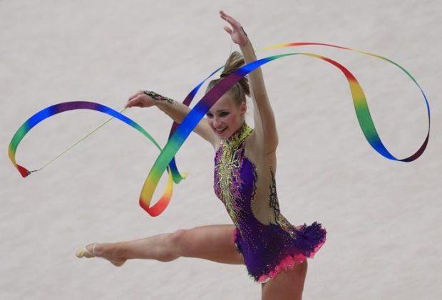 купальники для художественной гимнастики для выступлений: из полиэстера сиреневый с золотом