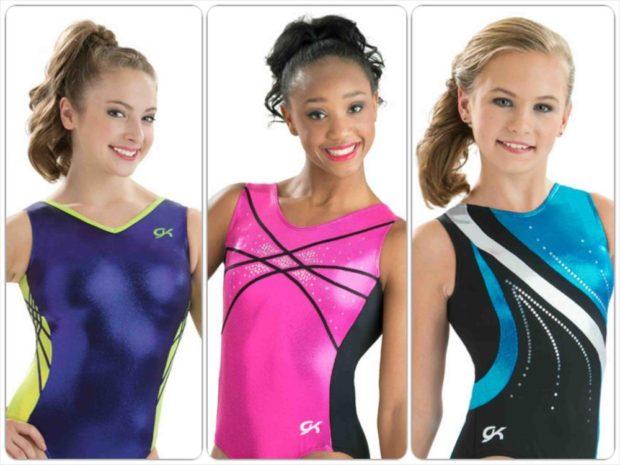 купальники для художественной гимнастики для выступлений: синий розовый