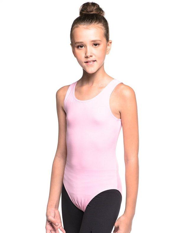 купальники для художественной гимнастики 2018-2019: розовый полиэстер без рукава