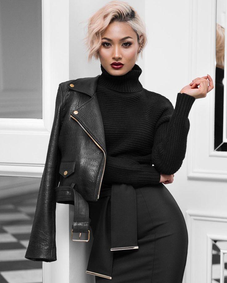 Модные куртки 2018 2019: косуха короткая кожаная