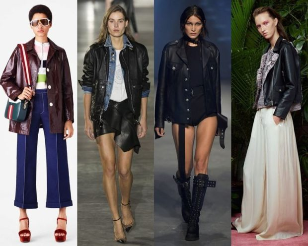 Модные куртки 2018 2019: кожаная коричневая