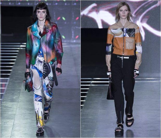 Модные куртки 2018 2019: цветные косухи коричневая короткая