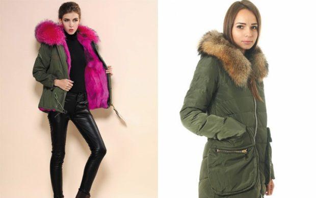 Модные куртки 2018 2019: зеленая с розовым мехом