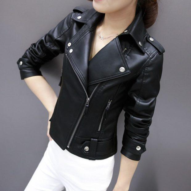 Модные куртки 2018 2019: косуха черная с заклепками
