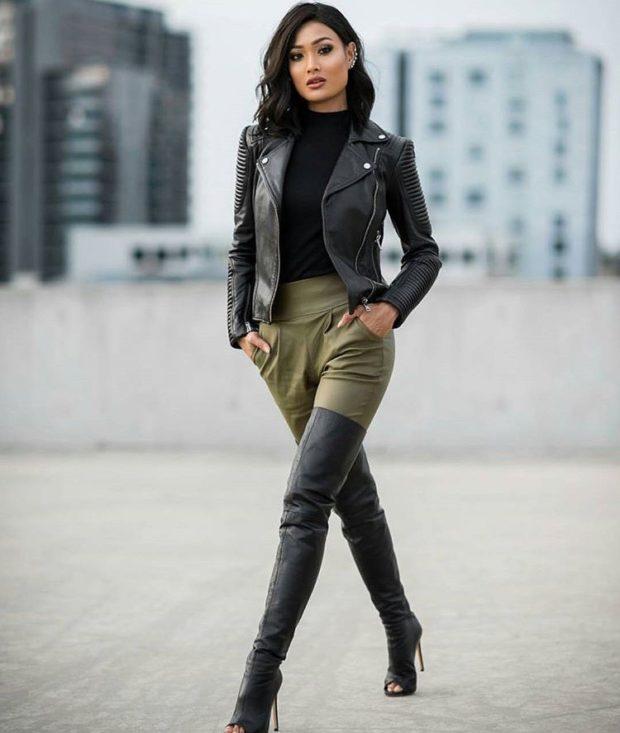 Модные куртки 2018-2019: косуха черная с интересными рукавами
