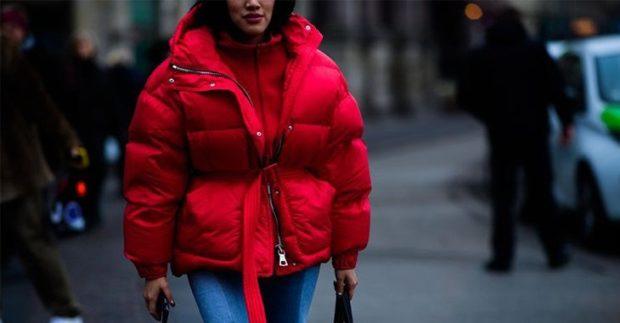 Куртки 2018 2019: пуховик оверсайз красный короткий