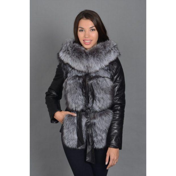 черная куртка кожаная с меховой жилеткой