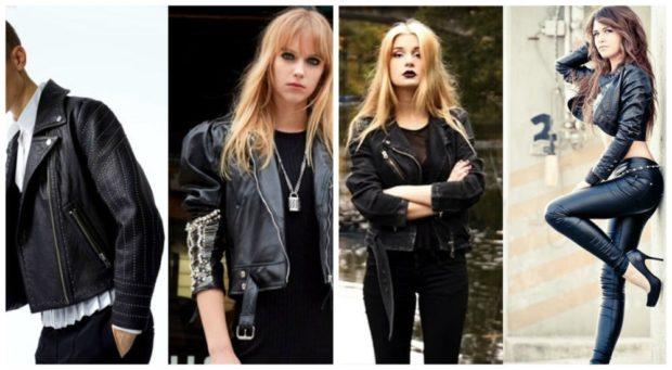 Куртки 2018 2019: косухи черные короткие
