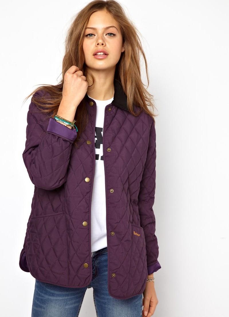 стеганая куртка короткая фиолетовая