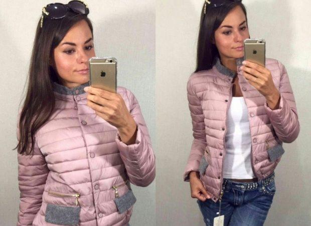 стеганая куртка короткая розовая с серым