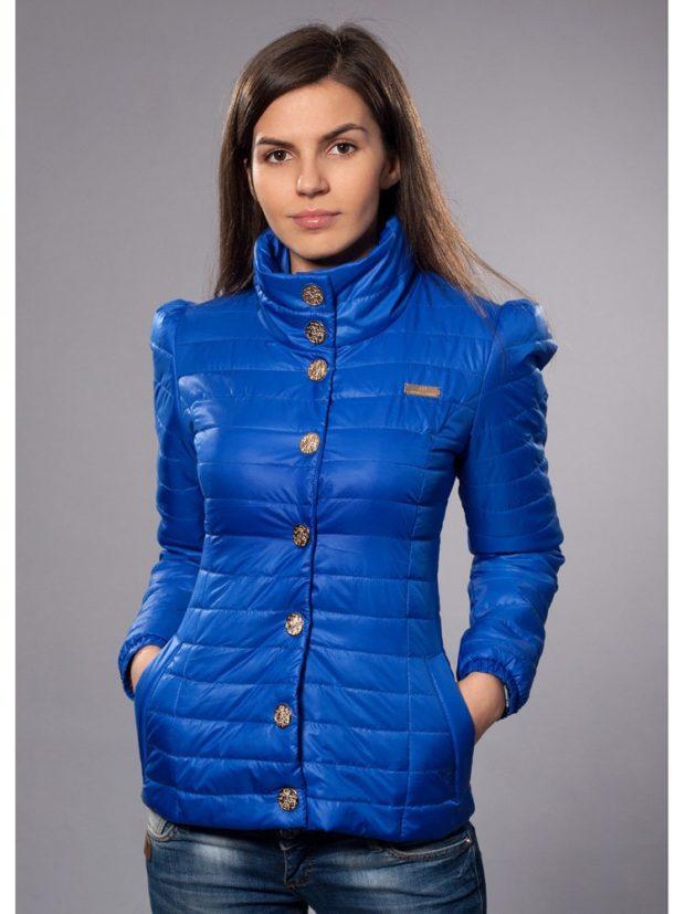 куртка приталенная короткая синяя