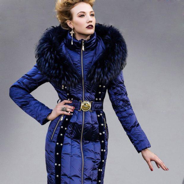 куртка приталенная длинная с поясом меховым капюшоном