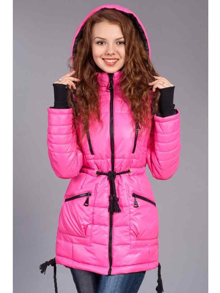 куртка приталенная розовая с завязками
