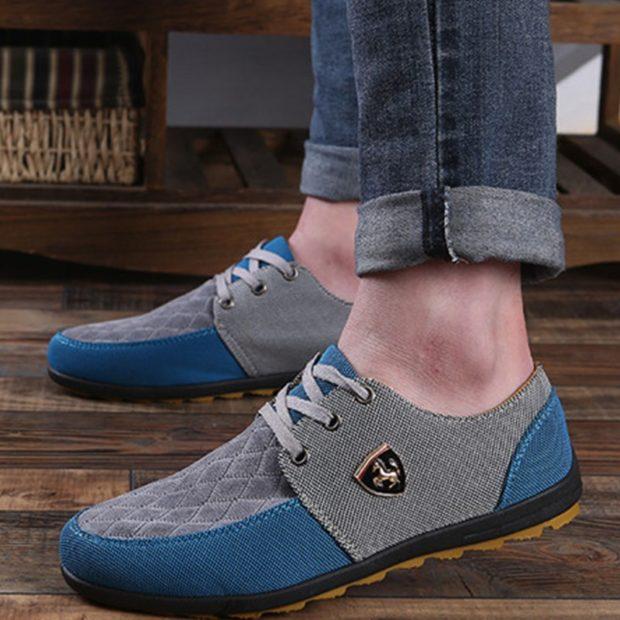 мокасины синие с серым на шнуровке