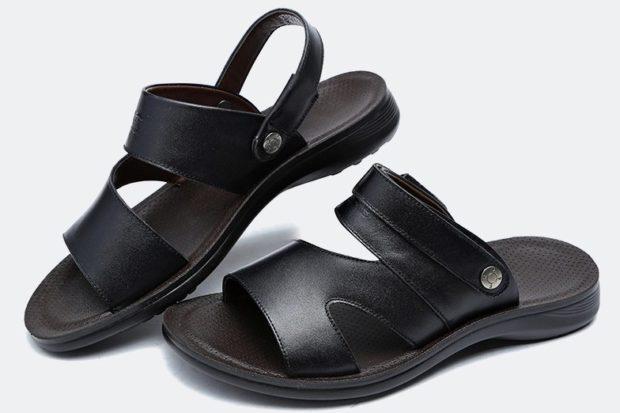 сандалии кожаные черные