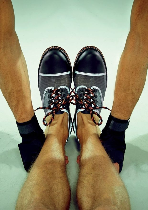 туфли лоферы серые с черным носком а-ля 90