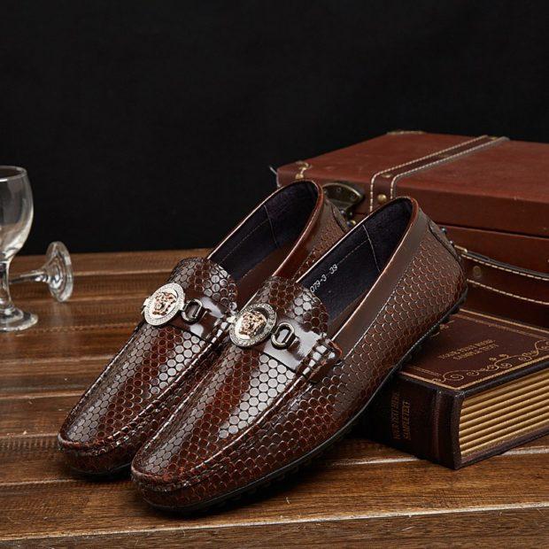 Driving Shoes коричневые под крокодила