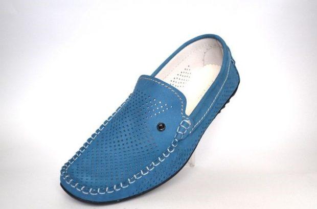Driving Shoes голубые в сетку