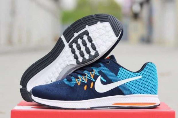 кроссовки на толстой подошве синие в два цвета