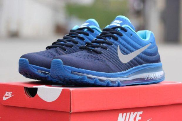 кроссовки синие на шнурках