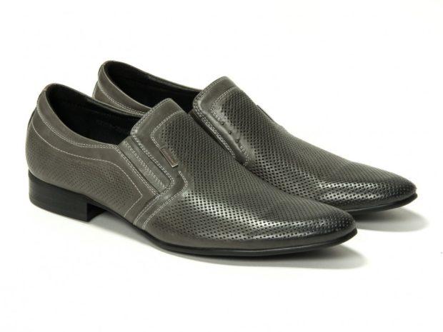 классические туфли летние серые носок сетка