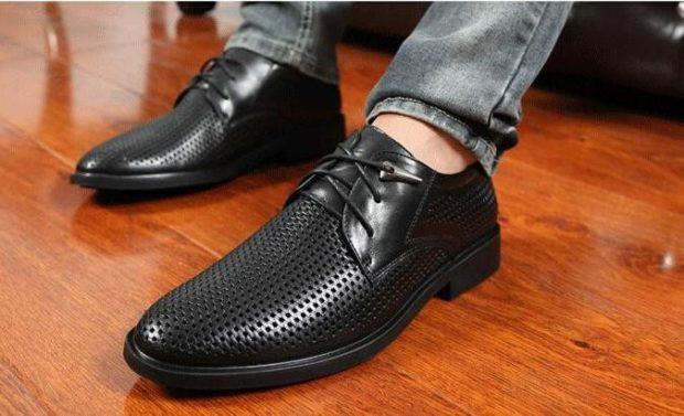 классические туфли летние черные носок сетка