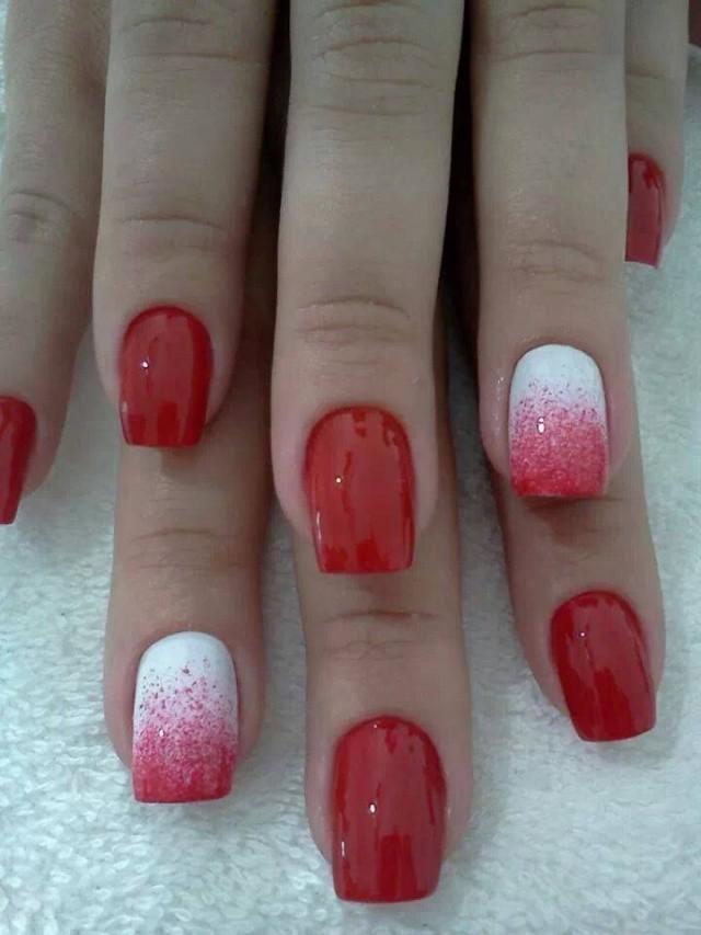 красно-белый маникюр омбре на одном пальце
