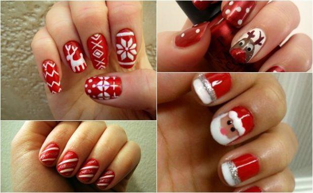 красно белый маникюр зимний с орнаментом оленями дедом морозом полосками
