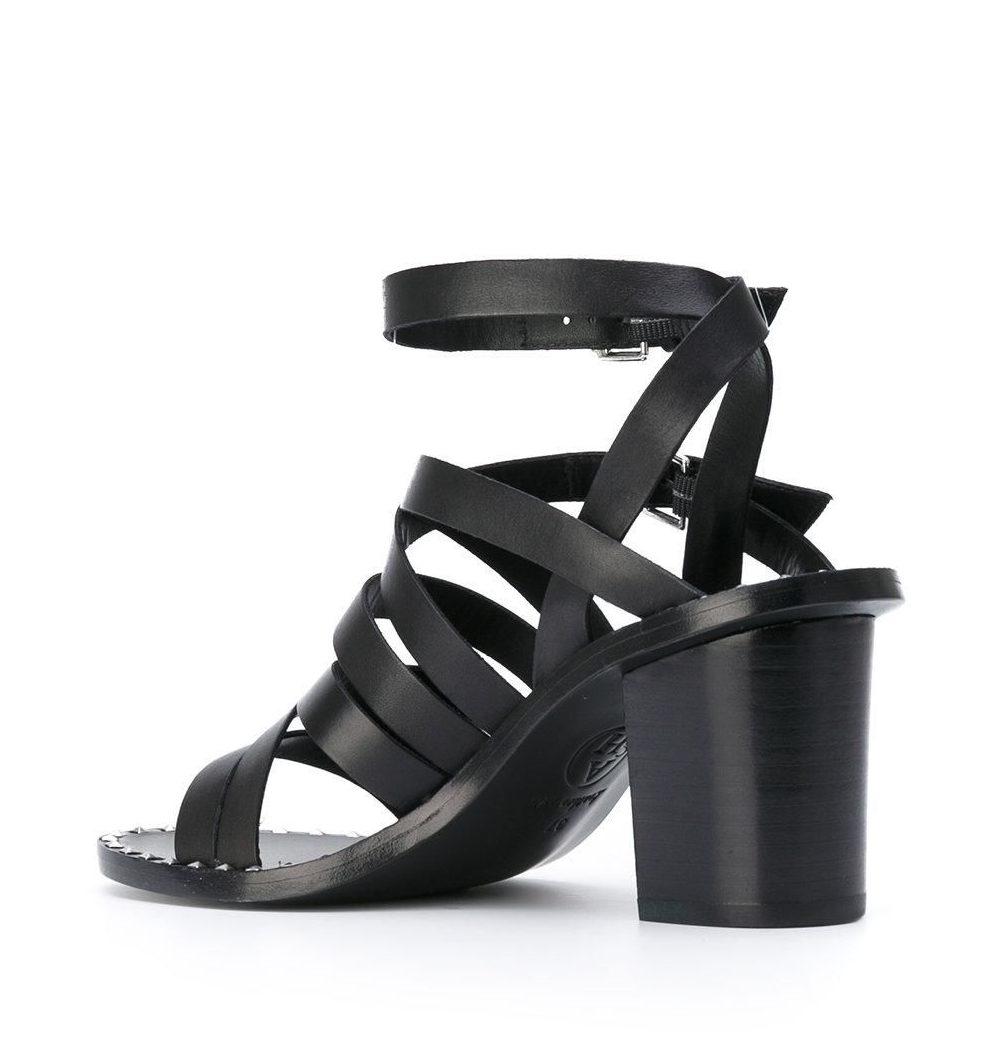 модные босоножки 2018: черные каблук толстый плетеные