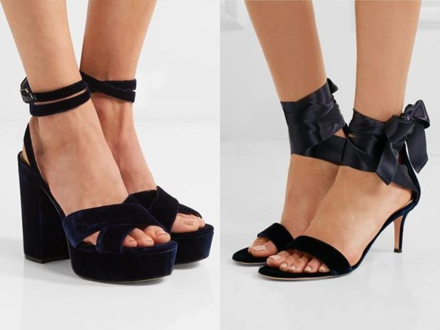 модные босоножки 2018: черные на каблуке толстом черные с лентами на шпильке