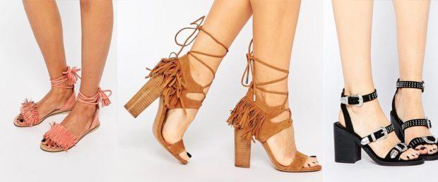 босоножки лето 2018: низкий ход светлая на каблуке коричневые на завязках черные