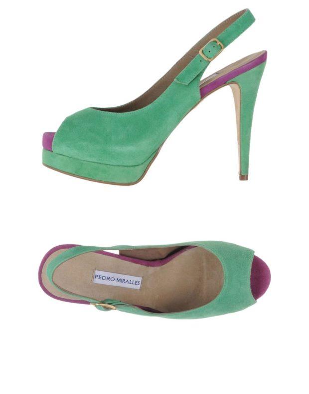 модные босоножки лето: яркие зеленые на шпильке