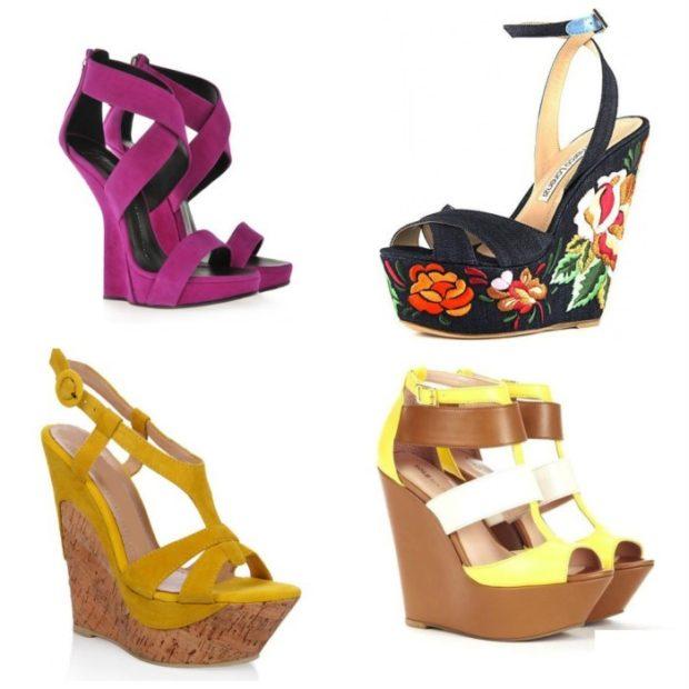 модные босоножки: яркие фиолетовые черные с цветами желтые