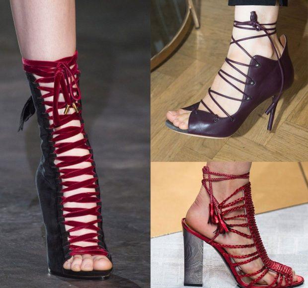 модные босоножки: высокие на платформе на тонких шнурках на шпильке на толстом каблуке