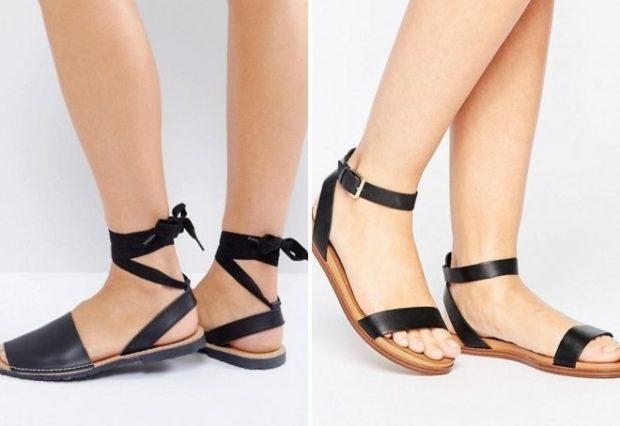 модные босоножки: на низком ходу черные с завязками