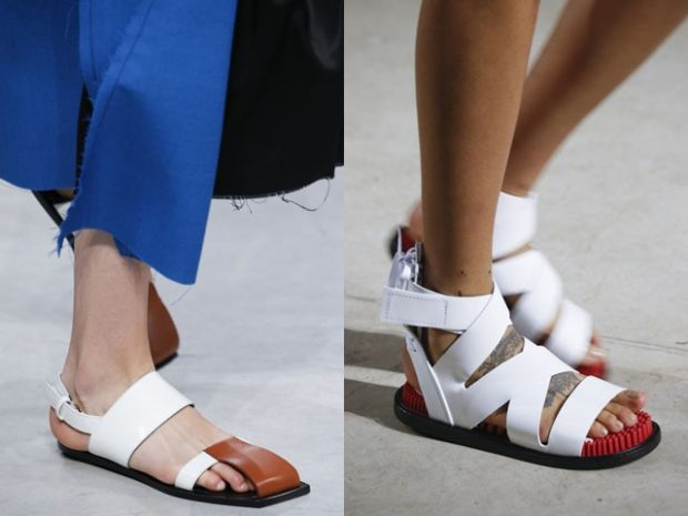 модные босоножки 2018: на низком ходу белые плетеные