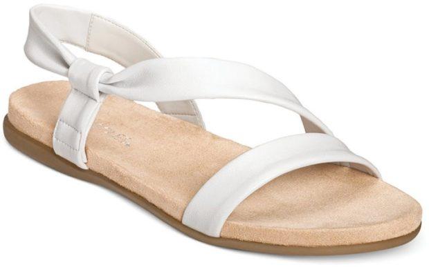 модные босоножки: на низком ходу белые классика