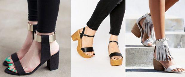 модные босоножки: на низких толстых каблуках