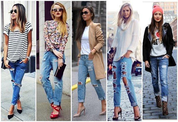 короткие синие джинсы с дырками