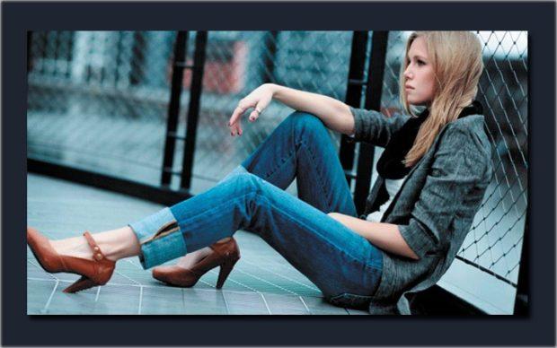 джинсы синие с отворотами