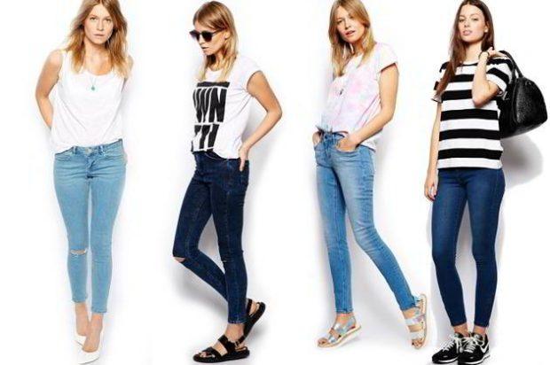 голубые синие потертые темные джинсы стерйч