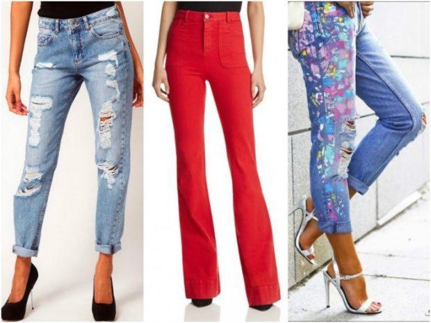 короткие джинсы с дырками красные высокая талия короткие в принт