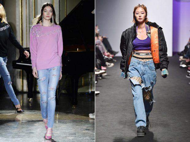 голубые джинсы с аппликацией синие оверсайз с дырками