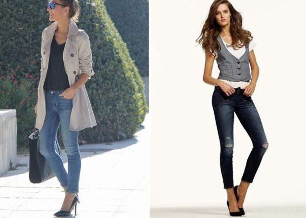 укороченные джинсы синие с дырками