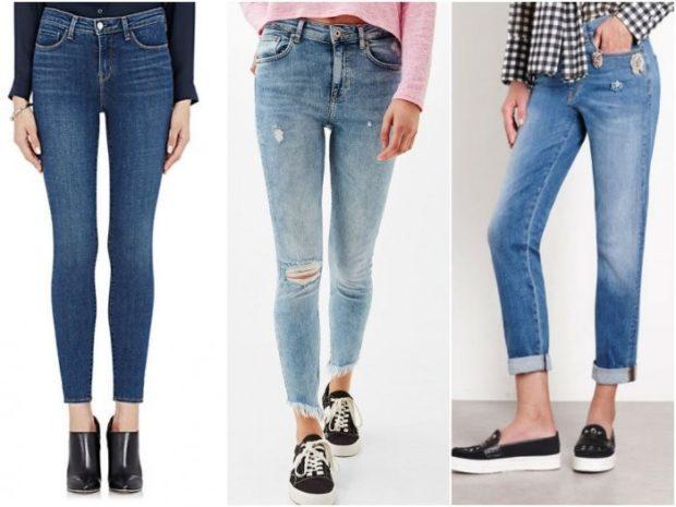 стрейчевые джинсы голубые с дыркой синие потертые укороченные