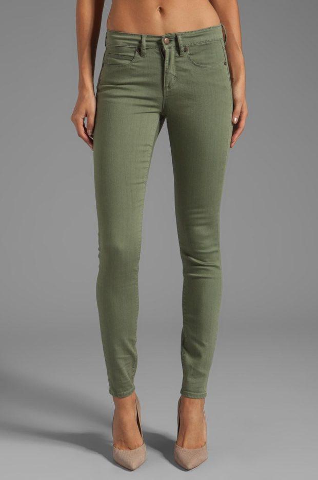 джинсы оливковые классика